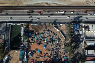 An aerial view of shelters where members of the Central American migrant caravan are staying in the city of Tijuana, Baja California, Mexico, 23 November