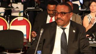 Ethiopian Prime Minister Hailemariam Desalegn looks on as he attends the opening ceremony for The Africa EU Summit in Abidjan on November 29, 2017