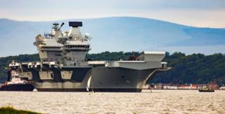 HMS Queen Elizabeth in the Firth of Forth.