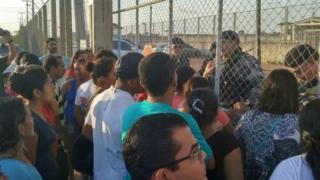 Relatives outside jail in Boa Vista, Roraima