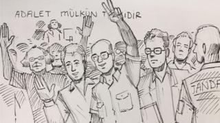 Cumhuriyet gazetesinin çalışanları duruşma salonunda böyle çizildi