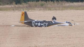 Pilot and Mustang in field