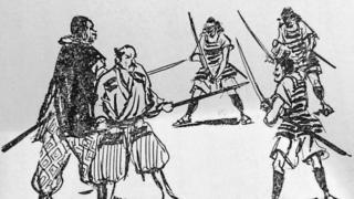 A drawing of Yasuke and Oda Nobunaga pointing their swords at enemies
