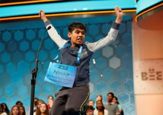 Nihar Saireddy Janga of Austin, TX, leaps for joy upon spelling a word in the final round of Scripps National Spelling Bee at National Harbor in Maryland, U.S. May 26, 2016.