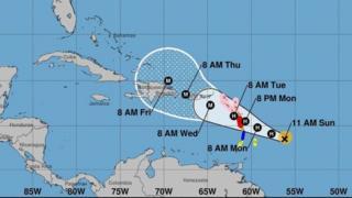 Map wey show how Hurricane Maria fit waka