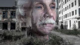 Russian man superimposed over derelict building