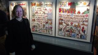Pamela Earl with the tapestry