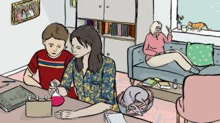 Illustration of a brother and sister conducting a science experiment at home. Illustrations by Emma Russell