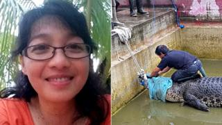 Split image of Deasy Tuwo and the crocodile that killed her