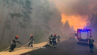 A handout photo from the State Emergency Services of Ukraine showing firefighters tackling blazes in eastern Ukraine, July 2020