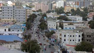 An aerial view of downtown Mogadishu
