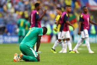 Salif Sane of Senegal looks dejected following his sides defeat in the 2018 FIFA World Cup Russia group H match between Senegal and Colombia at Samara Arena on June 28, 2018 in Samara, Russia.