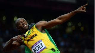 Jamaica's Usain Bolt celebrating after winning the men's 100m final at the athletics event during the London 2012 Olympic Games
