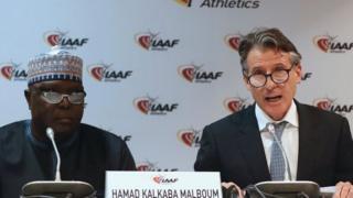 Hamad Kalkaba Malboum (left) and IAAF President Lord Coe (right)