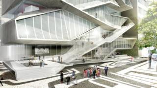 A fachada do MIS de acordo com projeto arquitetônico
