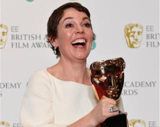 Olivia Colman with her Bafta Award