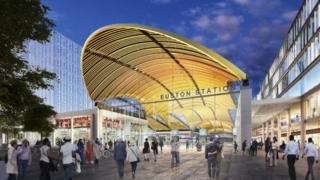 Artist's impression issued by HS2 of the proposed HS2 station at Euston.
