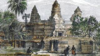 Эту зарисовку храмового фасада сделал Анри Муо, французский ученый, который посетил здешние места в середине XIX века и не поверил своим глазам