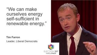 Tim Farron saying: We can make ourselves energy self-sufficient in renewable energy.
