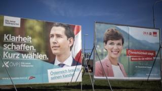 Election posters of Sebastian Kurz's ÖVP party (left) and Pamela Rendi-Wagner SPÖ' party