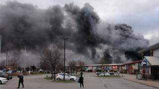 The smoke over the Westgate Retail Park