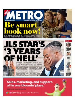 Wednesday's Metro front page
