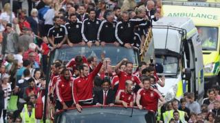 Wales team on open top bus