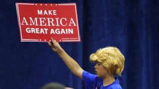 A boy wearing a Trump wig at a Trump rally