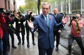 Nigel Farage arrives at the Brexit Party's General Election campaign launch