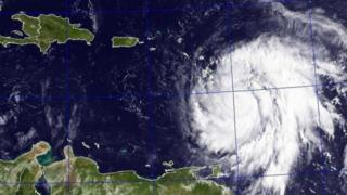 Satellite picture wey shw Hurricane Maria