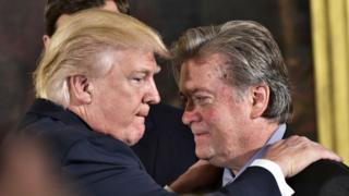 US President Donald Trump and former White House aide Steve Bannon