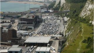 Traffic jam at Port of Dover