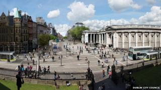 Dublin City Council has published images on its website of what the area in front of Trinity College could look like if the car-free zone is implemented