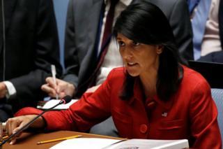 ヘイリー米国連大使は米国が自らと同盟国を守る準備があると表明した(5日、国連本部)