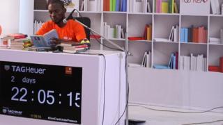 "Bayode Treasures-Olawunmi dey try set new Guinness World Record for ""di Longest Reading Marathon (Read Aloud)."""