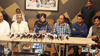 Mehbooba Mufti doing press conference after emergency meeting