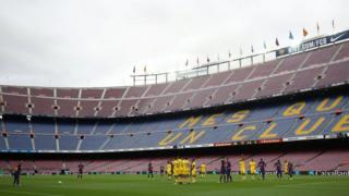 """Матч """"Барселоны"""" против """"Лас-Пальмаса"""" состоялся при пустых трибунах - в последнюю минуту его по соображениям безопасности решено было провести без зрителей"""