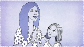 Illustration of a mother and her daughter