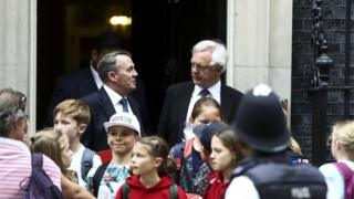 Liam Fox and David Davis outside 10 Downing Street
