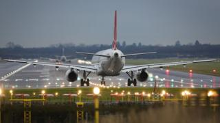 A plane on the runway at Gatwick
