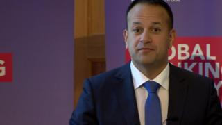 Leo Varadkar makes a speech at Queen's University during his visit to Northern Ireland