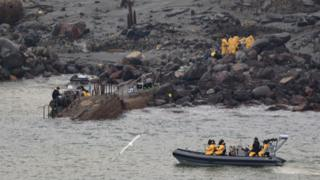 Rescuers on White Island
