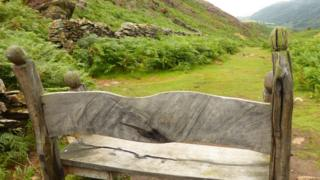 Bench dedicated to AJM at Cwm Bychan near Beddgelert