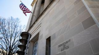 The U.S. Department of Justice Building is seen in Washington D.C. on April 3, 2019
