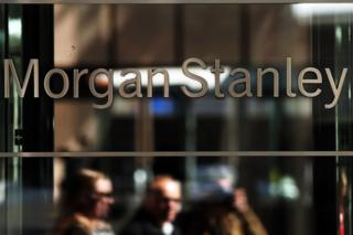 Morgan Stanley logo etched in window