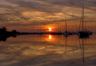 Yachts in the River Crouch at sunrise