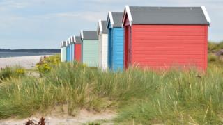 Beach huts at Loch Ness