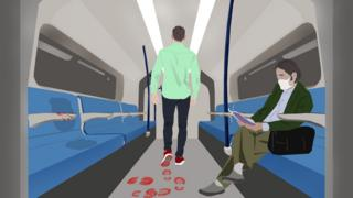 Illustration: man on train