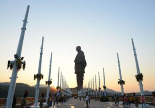 Indian policemen stand guard near the 'Statue Of Unity', the world's tallest statue dedicated to Indian independence leader Sardar Vallabhbhai Patel.