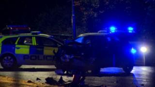 The crash scene on the Upper Knockbreda Road on Wednesday night